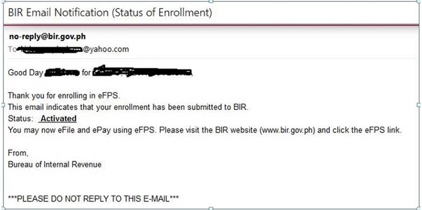 How to register with the bir efps efiling and payment system bir email notification with the message that the efps enrollment is activated spiritdancerdesigns Image collections