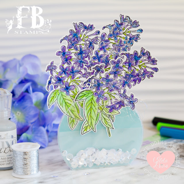 Lilac Birthday Wishes - Fold Flat Vase DIY Card by ilovedoingallthingscrafty