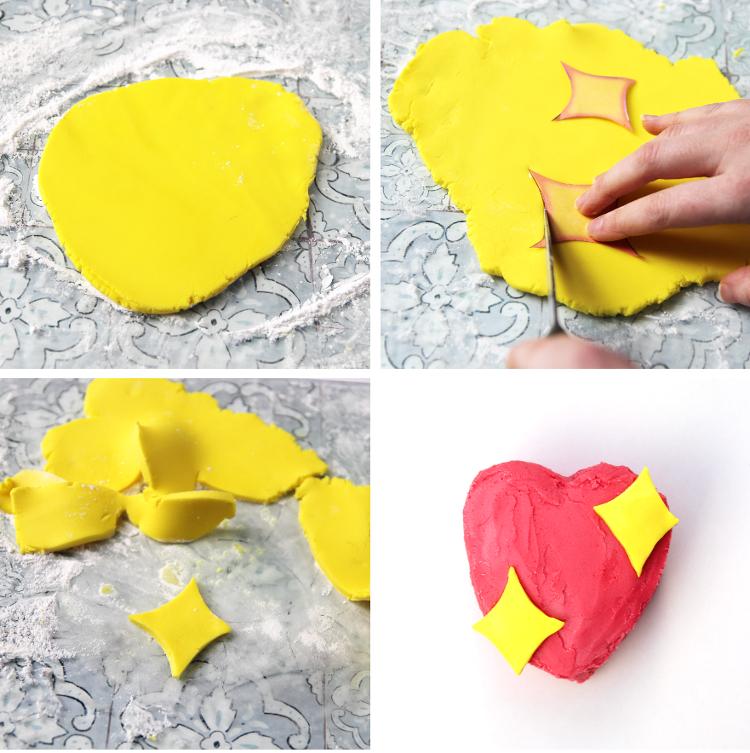 DIY EMOJI SPARKLE HEART CAKE