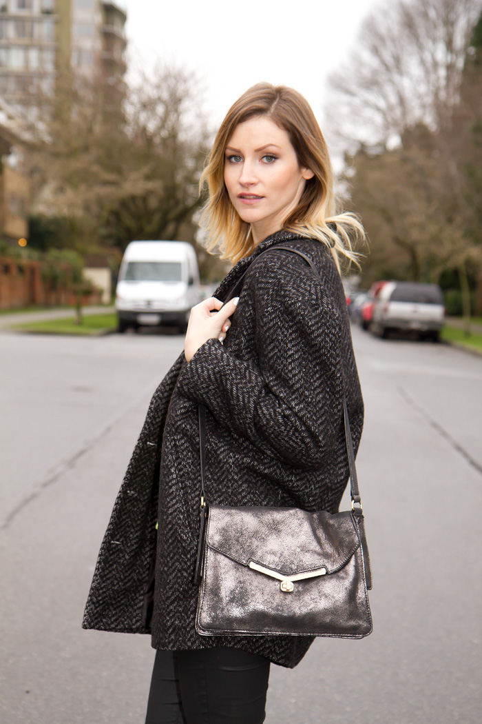Vancouver Fashion Blogger, Alison Hutchinson, wearing Urban Outfitters oversized menswear coat, Zara neon green sweater, Zara wax coated denim, Zara western high heeled boots, Botkier silver Valentina bag