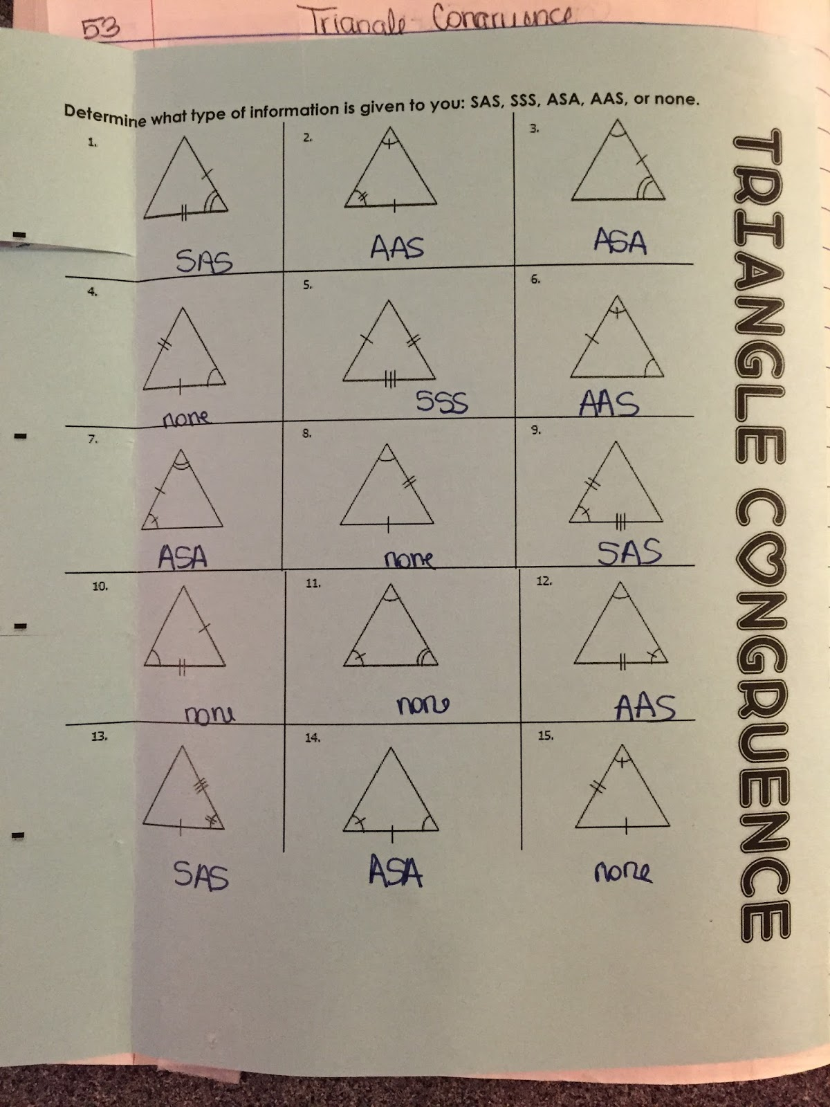 worksheet Worksheet On Congruence Of Triangles misscalcul8 geometry unit 5 congruent triangles interactive notebook lhp i turned her worksheet into a foldable for deciding which types of postulate applies and the rhp printed two to page to
