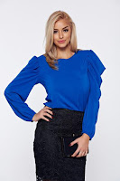 Bluza dama StarShinerS albastra eleganta cu maneci tip fluture