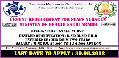 URGENT REQUIREMENT FOR STAFF NURSE IN MINISTRY OF HEALTH (MOH), KINDOM OF SAUDI ARABIA