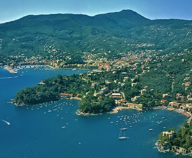 Aerial of San Michele di Pagana with Pomaro, Trelo (Travello), & Prelo Bays.  Beyond is Santa Margherita & Parco Naturale di Portofino.