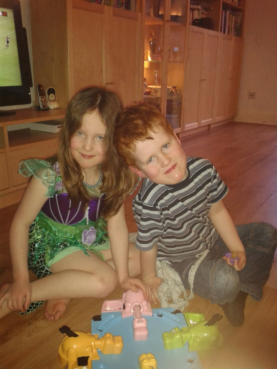 Caitlin and Ieuan playing Hungry Hippos game