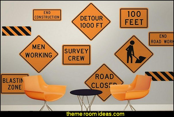 Construction Street Signs Wall Decal Stickers  construction bedroom decor - construction truck decor - boys bedrooms construction themed - LEGO furniture - dump truck decor - work trucks bedding - tools construction trucks theme bedroom - under construction building site - construction themed bedroom decor - Lego bedroom decor ideas - Tool belt theme - Kids tool bedding - tool pillows - Lego bedroom furniture -