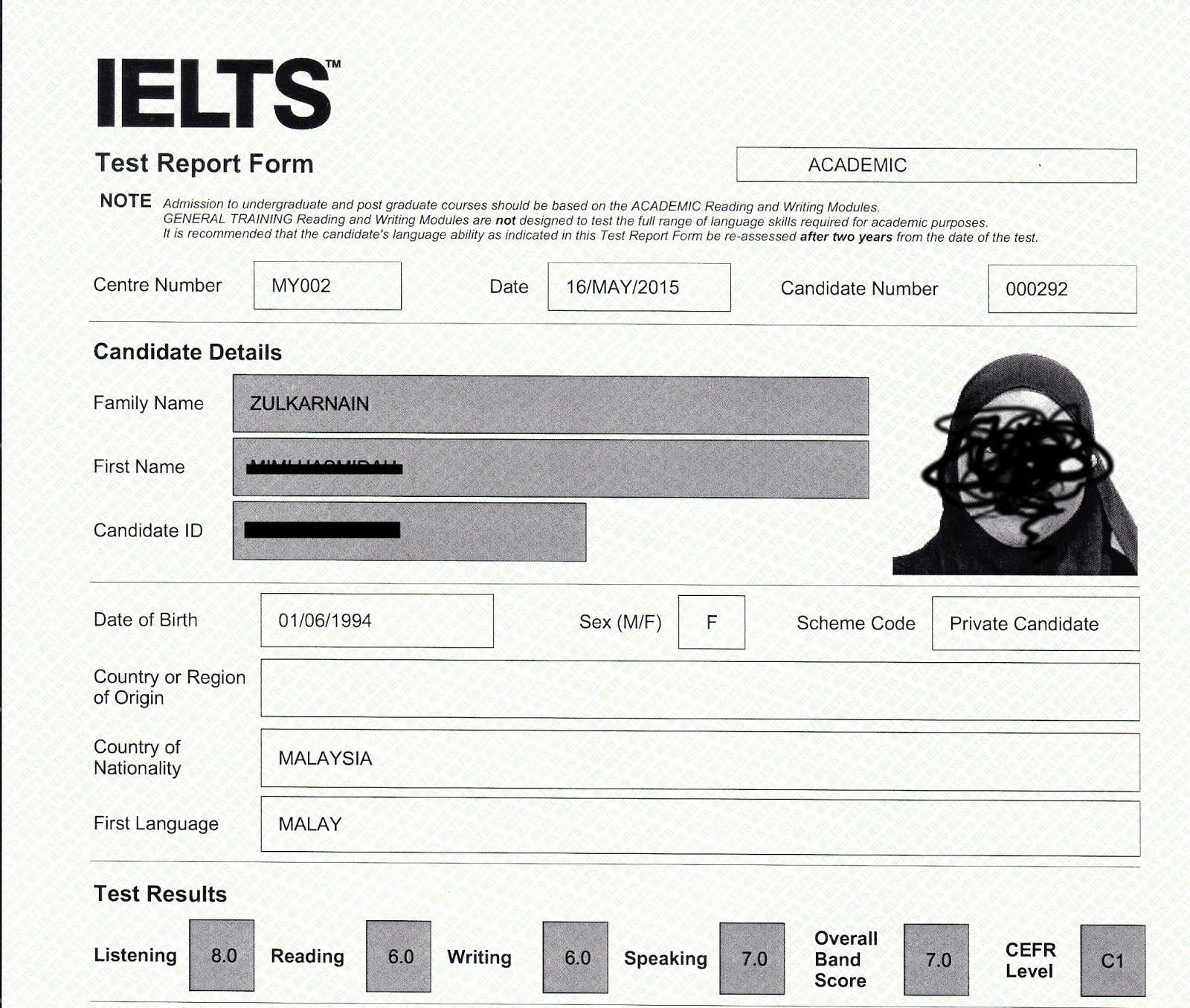Ielts candidate number example