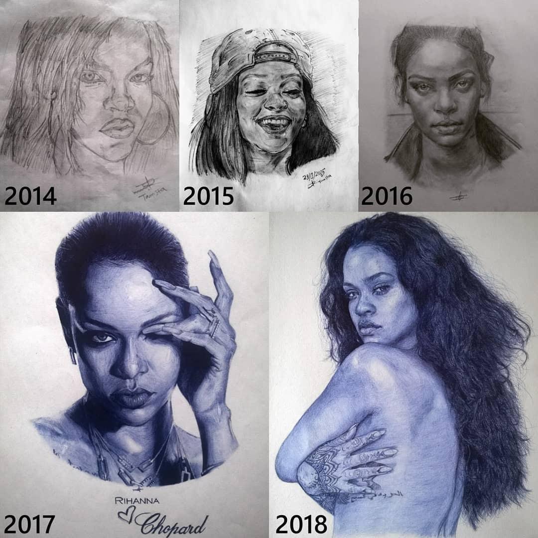 07-Rihanna-Progress-Larry-Tamara-Ballpoint-Pen-Portraits-Progression-Drawings-www-designstack-co