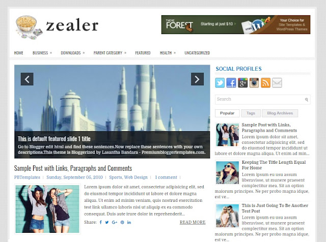 Columns Blogger Theme alongside a Right Sidebar together with  Free Download Zealer Blogger Template