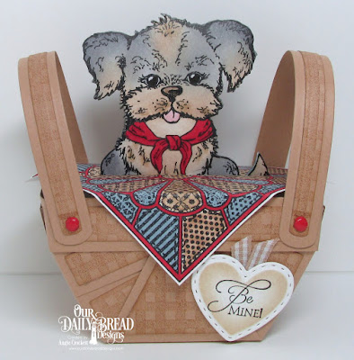ODBD Custom Bountiful Basket Dies, ODBD Gingham Background, ODBD Custom Mini Stitched Hearts Dies, ODBD You Are Paw-some, ODBD Dresden Quilt, ODBD Be Mine, Basket Designed by Angie Crockett