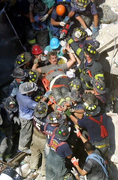 Firefighters unite to bring out wounded on 9/11