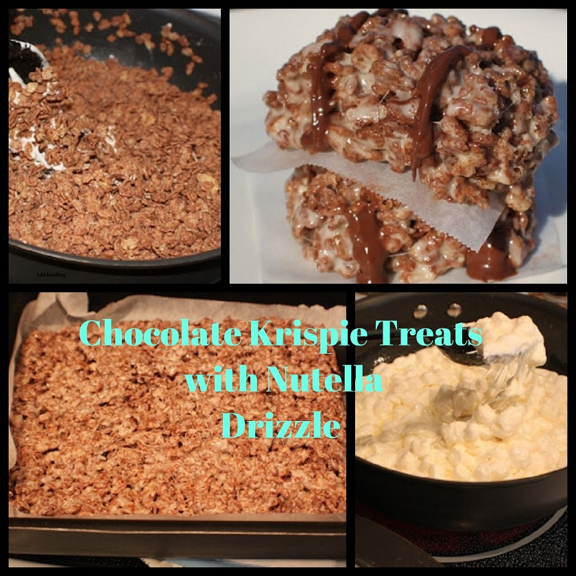 These are a bar cookie no bake with chocolate rice krispies, marshmallow and Nutella drizzled over the topped. They are layered bars on top of each other with wax paper in between them on a white plate and collage on how to make them
