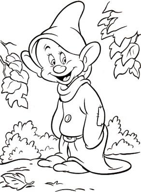 Dibujo: Enano Mudito o Enanito Tontín de Blancanieves para colorear pintar o imprimir
