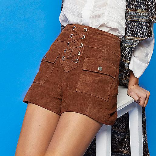 brown suede tie shorts, river island suede shorts,