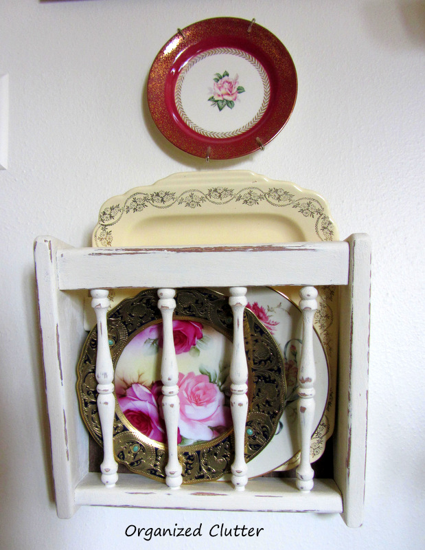 Repurposed Oak Magazine Rack Plate/Platter Display www.organizedclutterqueen.blogspot.com