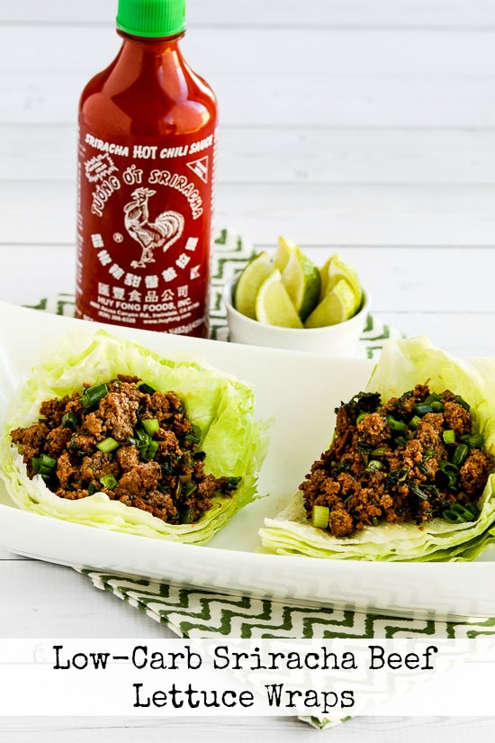 Low-Carb Sriracha Beef Lettuce Wraps found on KalynsKitchen.com