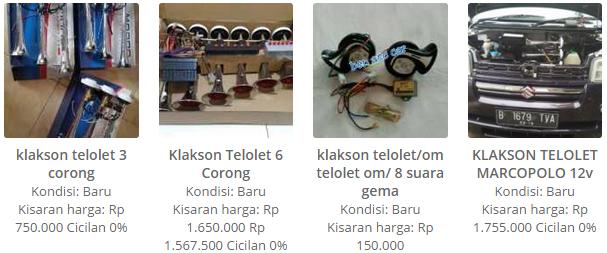 Harga Klakson Telolet; 3 Corong, 6 Corong, 8 Suara Gema, dan Telolet Marcopolo 12 V