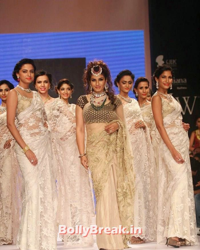 , Raveena Tandon Hot Images in Saree from  IIJW Fashion Show 2014