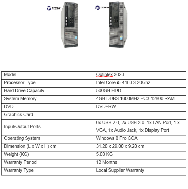 DELL OPTIPLEX 3020 SFF i5 DESKTOP PC COMPUTER (REFURBISHED