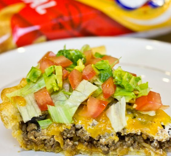 Frito Taco Pie With A Crescent Dough Crust #dinner #tacos