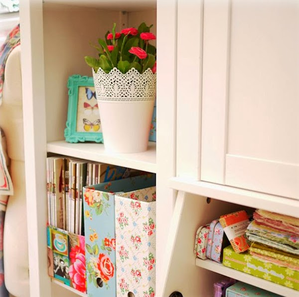 Cath Kidston Magazine files in a bookcase and a lovely CK filled home!