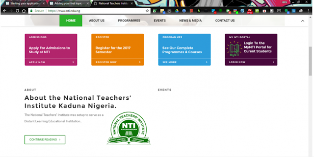 National Teachers Institute, NTI Website
