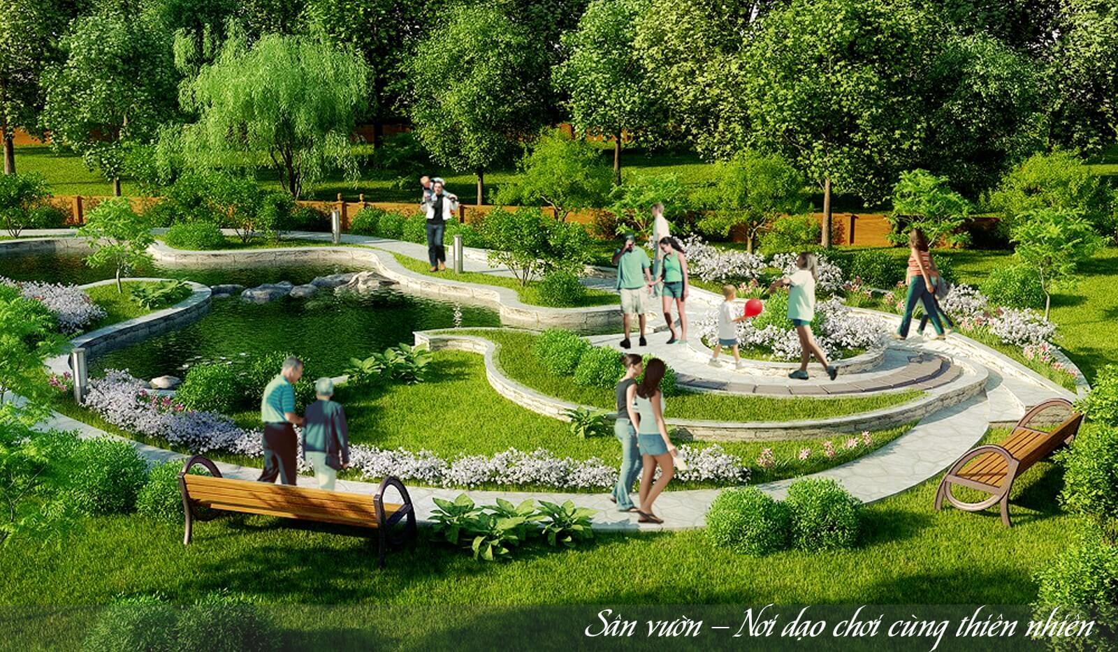 Sân vườn tại Lộc Ninh Singashine.
