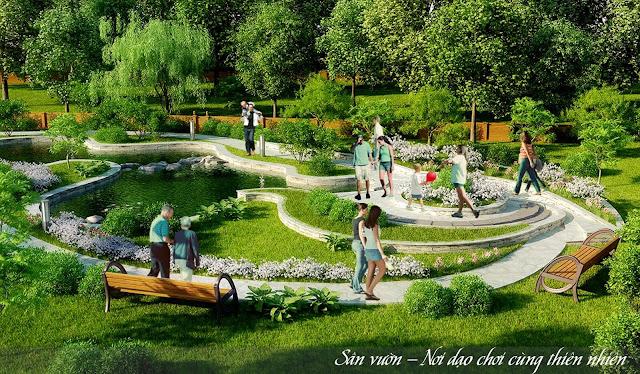 Sân vườn tại dự án chung cư Lộc Ninh.