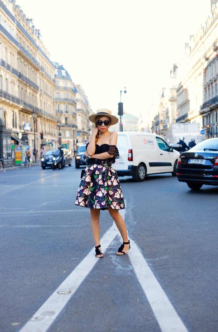chicwish skirt, asos off shoulder crop top, lack of color straw hat, chanel classic flap bag, karen walker sunglasses, sole soceity sandals, hermes bracelet, paris street style, fashion blog, rue saint honore street style