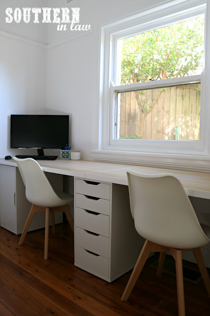 Spare Bedroom to Home Office Makeover on a Budget - Unique Home Office Ideas and How To's - IKEA Linnmon Table Top, Alex Drawers and Eames Chairs