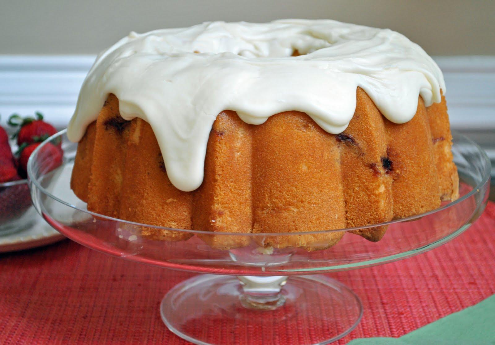 Cake Recipes With Glaze Icing: Ryan Bakes: Strawberry Pound Cake With Cream Cheese Glaze