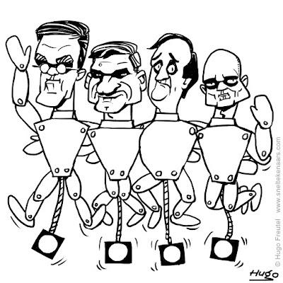 kleurplaat trekpop Rutte, Buma, Pechtold en Segers, verkiezingen