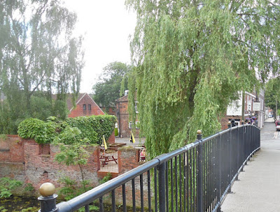 A July 2016 view from the County Bridge in Brigg town centre, looking towards the beer garden of the Nelthorpe Arms pub - picture used on Nigel Fisher's Brigg Blog