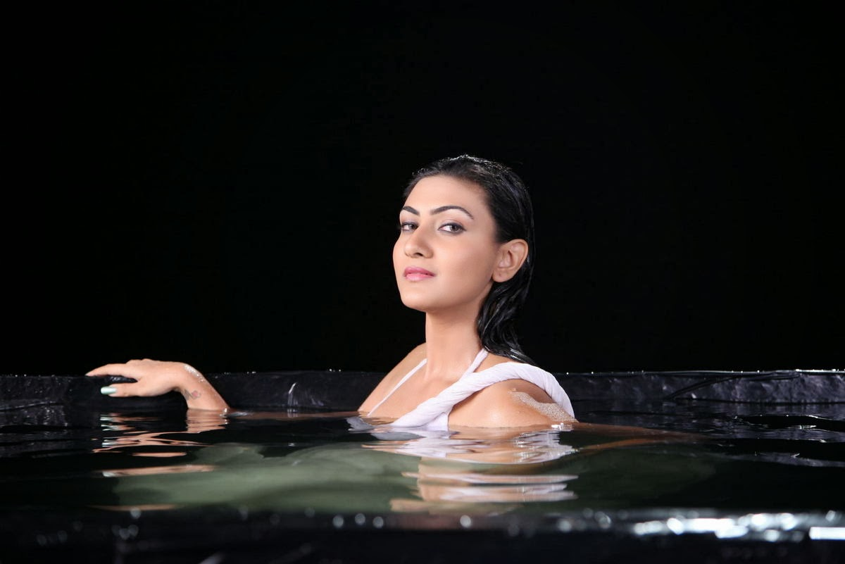 Neelam upadhyay hot photos in wet white saree from action 3d movie