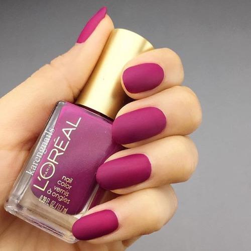 berry matte nails