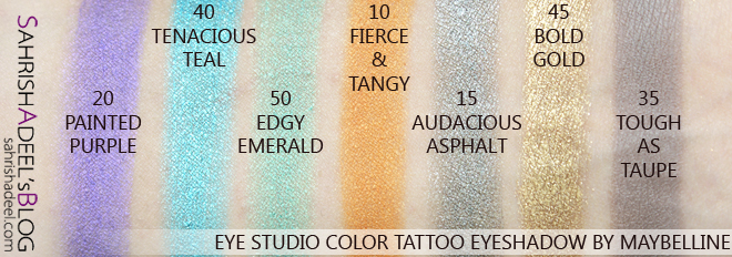 Eye Studio Color Tattoo Eyeshadow By Maybelline - Review & Swatches
