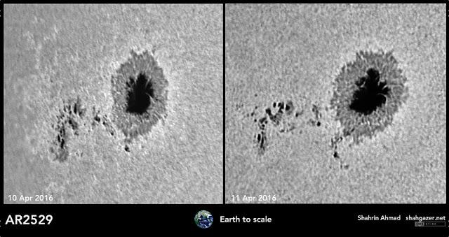 Mancha solar AR 2529 em comparação com a Terra - Shahrin Ahmad