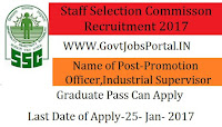 Staff Selection Commission Recruitment 2017 for Promotion Office & Industrial Supervisor Post