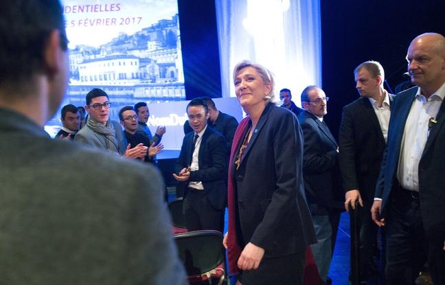 La présidente du Front national Marine Le Pen lors d'Assises présidentielles du parti le 4 février 2017 à Lyon - CHAMUSSY- SIPA