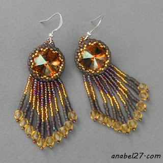 Серьги с кристаллами Swarovski - коричнево-золотые