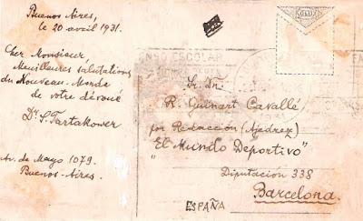 Reverso de la postal de Savielly Tartakower