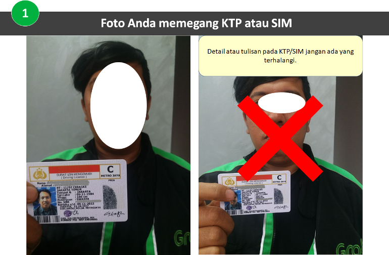 Foto Selfie KTP Ganti Motor GrabBike