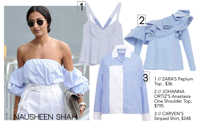 Nausheen Shah wears blue stripes trend in this off the shoulder top