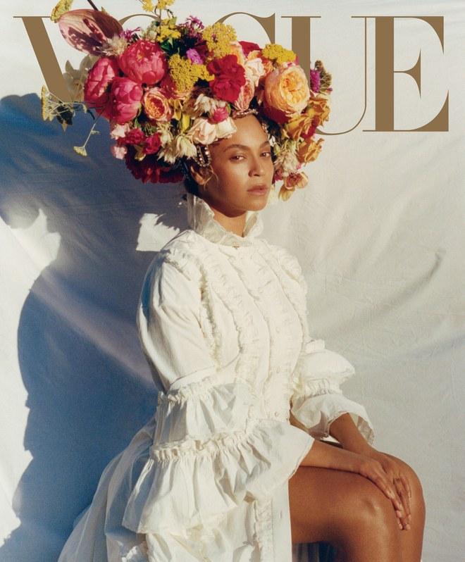 Gucci dress. Lynn Ban headpiece. Floral headdress by Rebel Rebel. Photographed by Tyler Mitchell, Vogue, September 2018