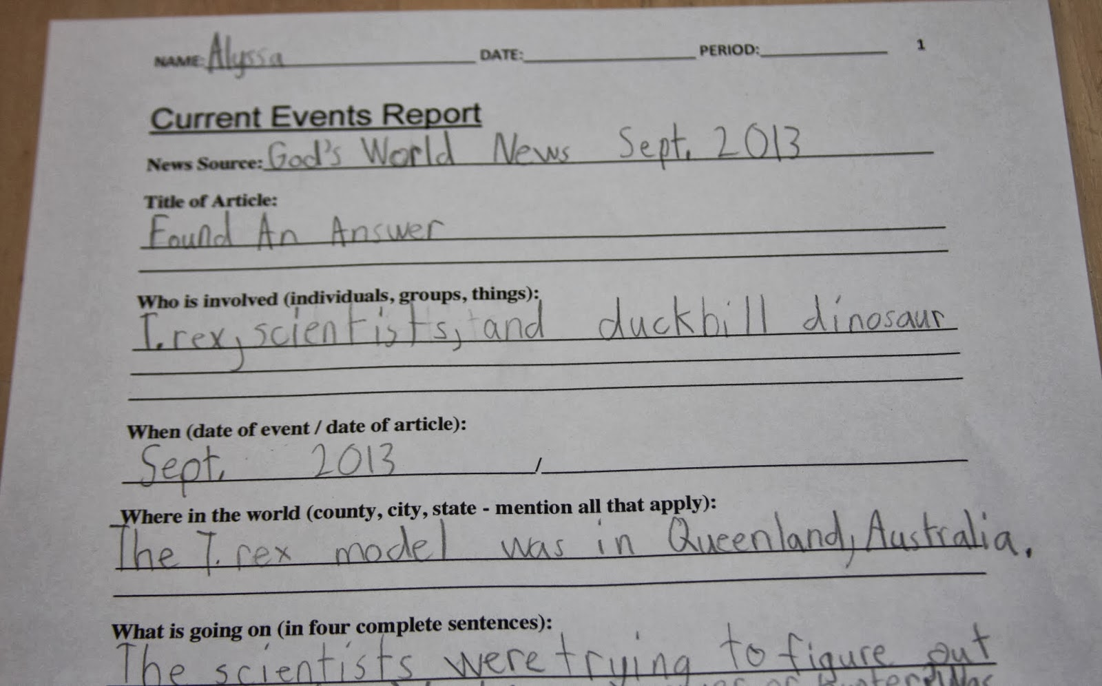 How to write a current event report for school