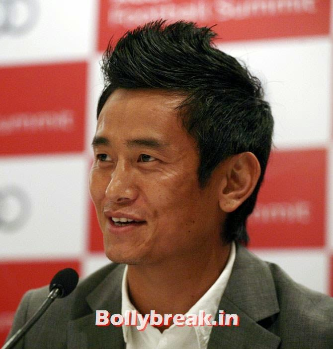 Former India soccer team captain Baichung Bhutia speaks during a news conference in New Delhi, Sports & Bollywood celebrities Standing in Lok Sabha Elections 2014