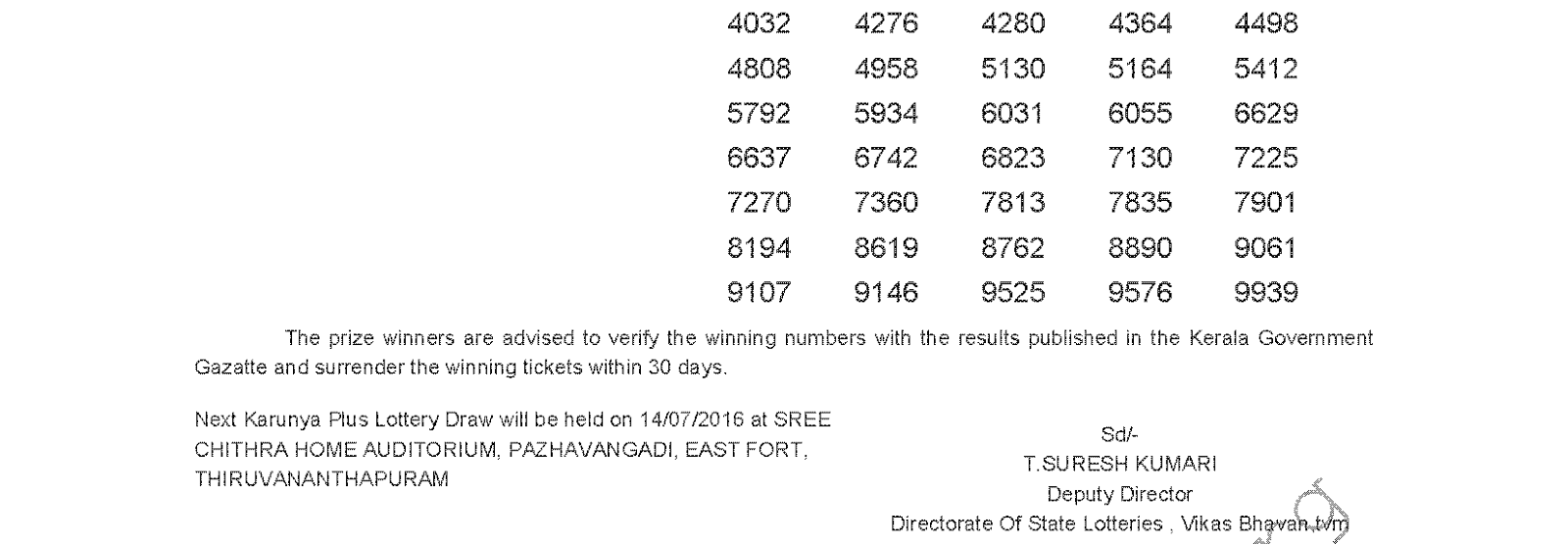 KARUNYA PLUS Lottery KN 117 Results 7-7-2016