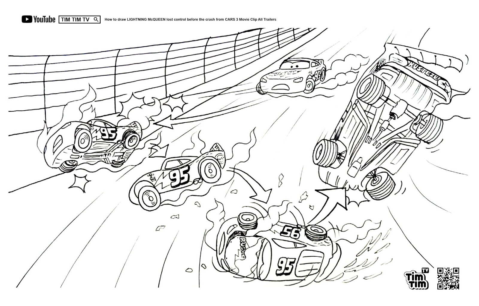 Tim Tim Tv Coloring Page Lightning Mcqueen Cars 3 Before Crash