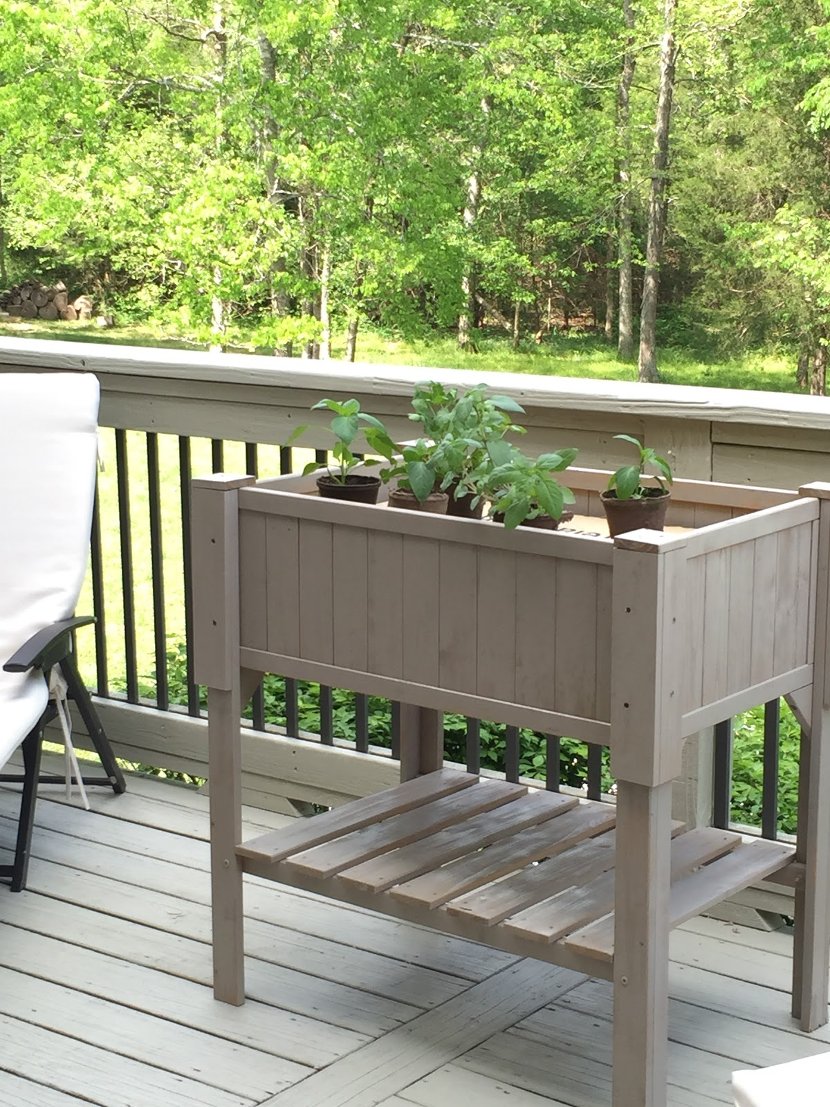 Great herb garden planter on deck