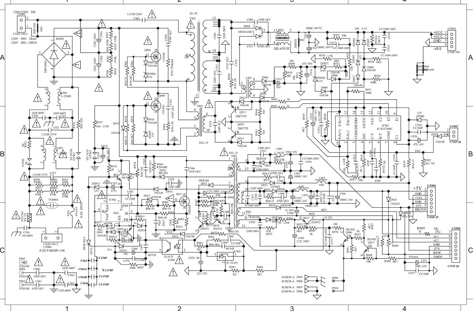 Philips HTS3565D Power supply regulator and Main amplifier circuit ...